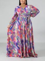 Vestido largo con estampado de manga larga y estampado de colores
