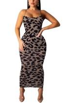 Midi-Kleid mit Leopardenriemen