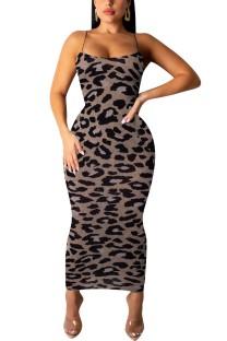 Imprimir Leopard Straps Midi Dress