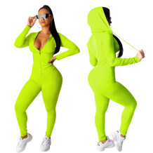 Sports Zipper Up Long Sleeve Bodycon Hoody Jumpsuit