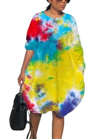 Colorful O-Neck Long Sleeve Hippie Dress