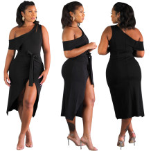 Black One Shoulder Sexy Wrapped Long Party Dress