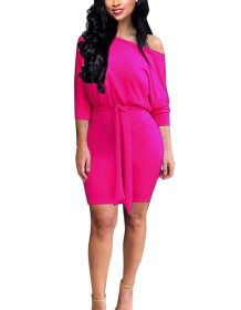Plain Solid Loose and Fit Party Dress with Slash Shoulder