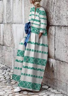 White and Green Print Boho Jumpsuit
