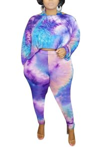 Plus Size Colorful Crop Top and Pants Set