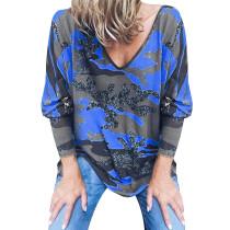 Camisa holgada de manga larga con estampado de camuflaje