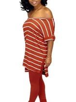 Camisa suelta con estampado de rayas y cuello en V