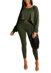 Plain Solid Long Sleeve Crop Top and Pants Set
