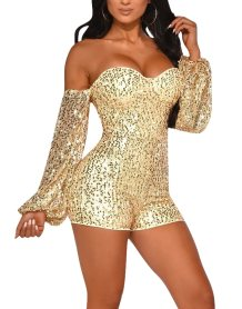 Sequins Sweetheart Bodycon Rompers with Sleeves