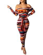 Off Shoulder Sexy Kleurrijke Bodycon Jumpsuit