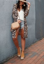 Print Leopard Long Cardigans with Full Sleeves