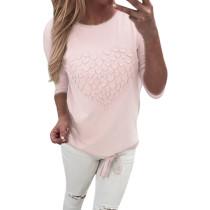 Camisa con cordón casual con cuello en O rosa