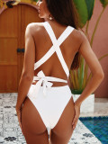 Plain Solid One Piece Deep-V Swimwear