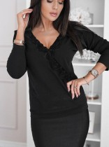 Camisa de manga larga de encaje negro