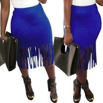 Plain Solid Tassels Mini Skirt