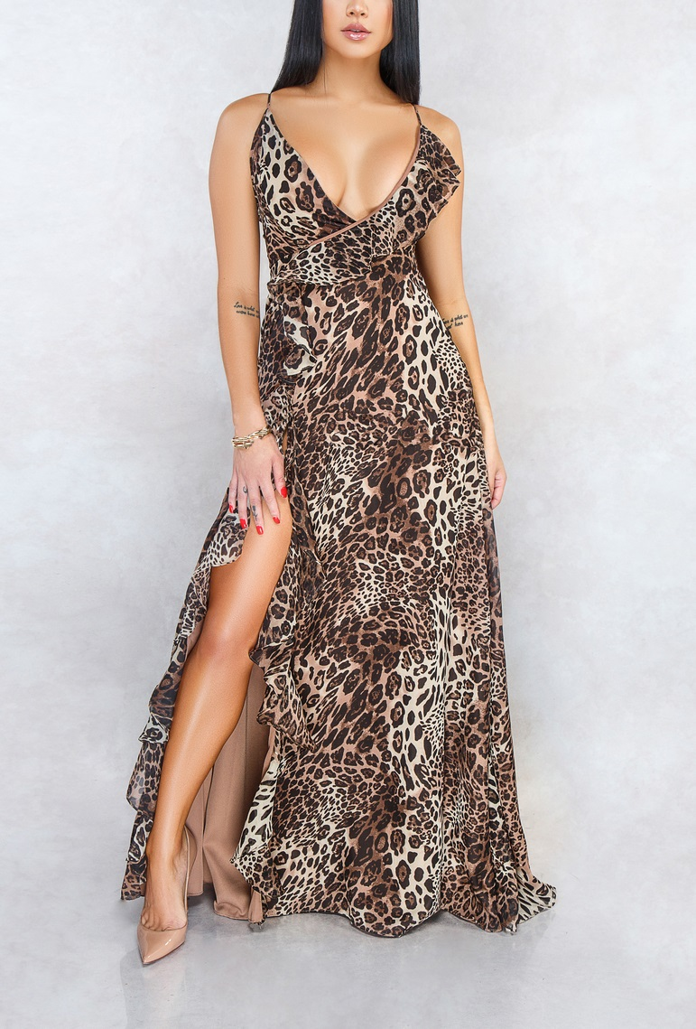 robe de bal fendue sexy fendue imprimée animale à bretelle fine