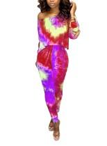 Renkli Baskı Batik Kırpma Üst ve Pantolon Takımı