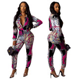 Imprimir Retro manga comprida Button Up Jumpsuit