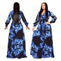 Vestido largo con estampado floral y mangas largas