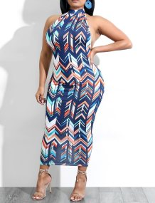 Open Back Sexy Colorful Print Scoop Midi Dress