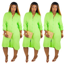 Neon Green Long Blouse Dress with Sleeves