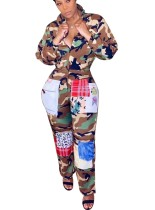 Imprimir Camou manga comprida Zipper Up Jumpsuit