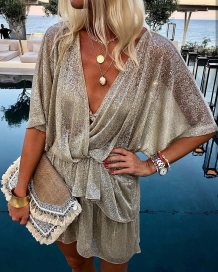 Deep-V Sexy Bling Bling Bat Sleeved Rompers