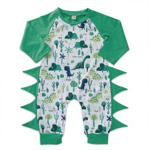 Baby Boy White and Green Animal Print Onesie Rompers