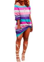 Robe chemise à rayures colorées à col rond