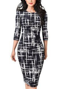 White and Black Print O-Neck Midi Dress