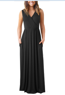 Sheer Black Sleeveless V-Neck Long Dress