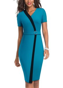 Short Sleeves V-Neck Contrast Elegant Midi Dress