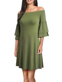 Off Shoulder Plain Solid Shirt Dress with Ruffle Cuffs