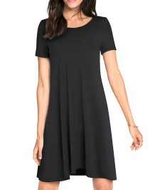 Fit-and-Flare O-Neck Plain Solid Shirt Dress