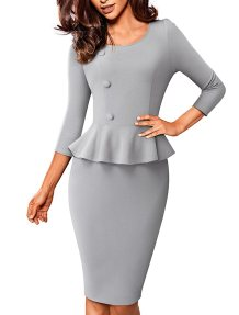Plain Solid O-Neck Peplum Midi Dress