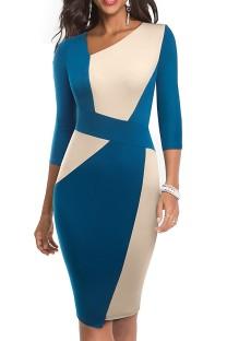 Contraste Elegante Vestido Midi Irregular