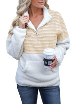 Sudadera de felpa con cremallera y contraste con bolsillo delantero