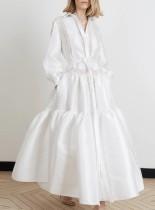 Ocasional vestido de noche blanco de manga larga pop