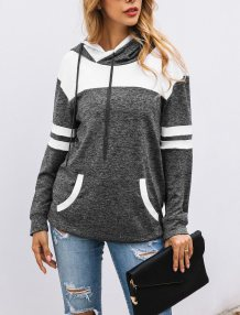 Drawstrings Contrast Hoody with Front Pocket