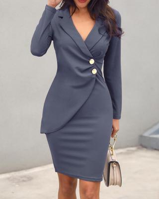 Простое обтягивающее офисное платье с длинным рукавом