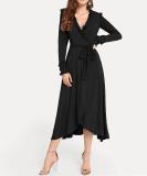 Vestido largo envuelto de manga larga liso liso