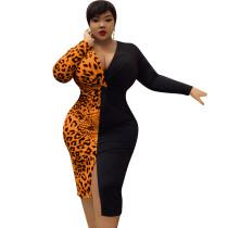 Robe fourreau fendue à manches longues et imprimé léopard sexy