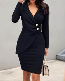 Plain Solid Long Sleeve Wrapped Office Dress