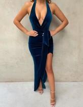 Vestido de fiesta largo de terciopelo sexy con abertura profunda en terciopelo azul