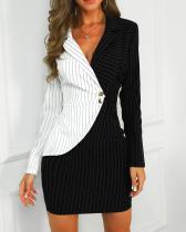Vestido de oficina envuelto de manga larga con estampado de rayas