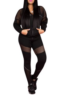 Sports Patchwork Long Sleeve Zipper Up Tracksuit