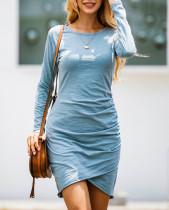 Mini vestido liso liso de manga larga envuelto