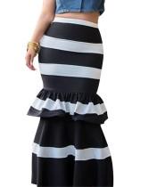 Wide Stripes Print Long Mermaid Skirt
