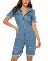 Pagliaccetti di jeans casual abbottonati azzurri