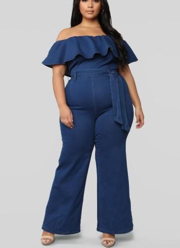 Plus Size Off Shoulder Denim Jumpsuit